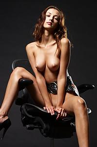 Anna Posing Nude In Black Studio