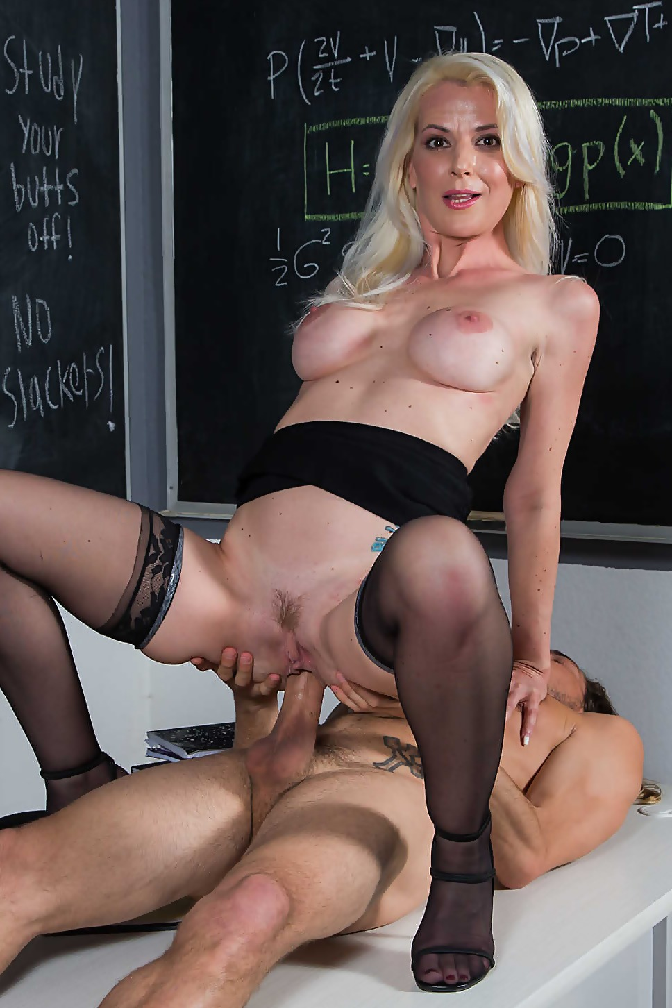 Professor Anita Blue LOVES to ride young college cock in her classroom